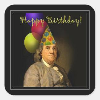 Birthday Ben Franklin Square Sticker