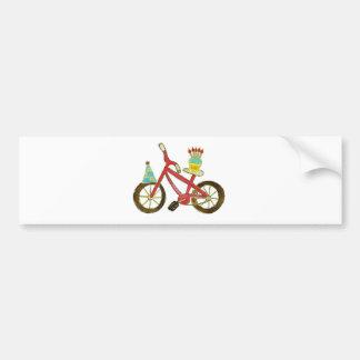 Birthday Bike with Cupcake Bumper Sticker