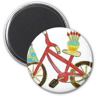 Birthday Bike with Cupcake 6 Cm Round Magnet