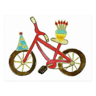 Birthday Bike with Cupcake Postcard