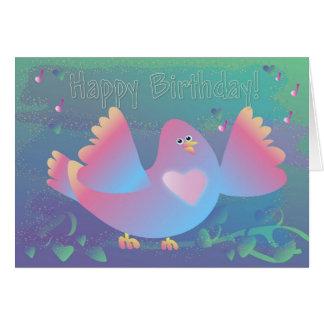 Birthday Bird Heart Greeting Card