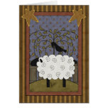 Birthday Black-faced Sheep & Raven Greeting Card