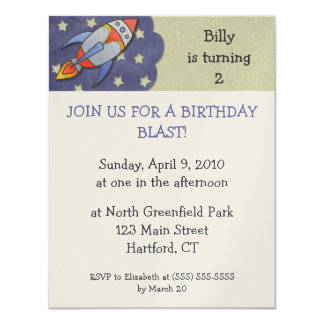 Birthday Blast Rocket Birthday Party Invitations