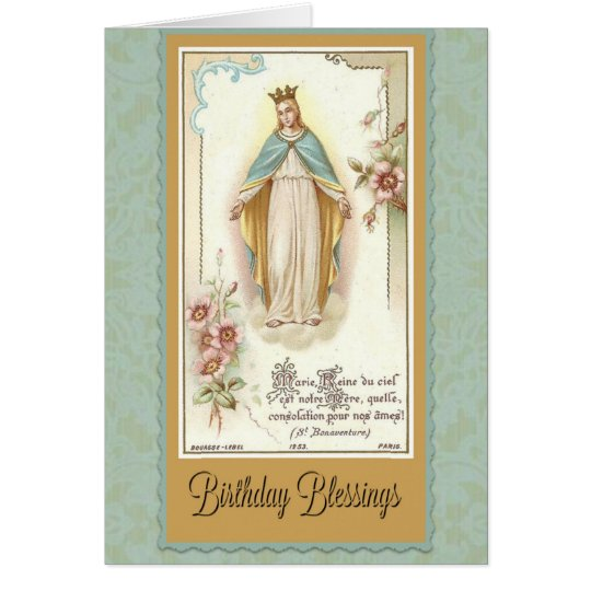 Birthday Blessings Blessed Virgin Mary Prayer Card