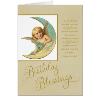 Birthday Blessings Vintage Angel & bible verse Greeting Card