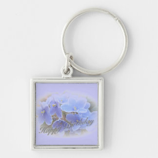 Birthday Blue African Violets Key Chain