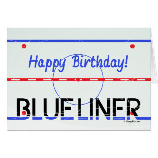 Birthday Blue Liner Hockey Greeting Card