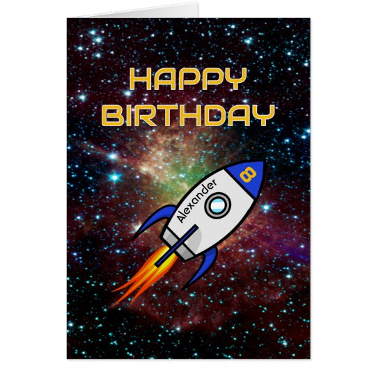 Birthday blue rocket custom name and age card