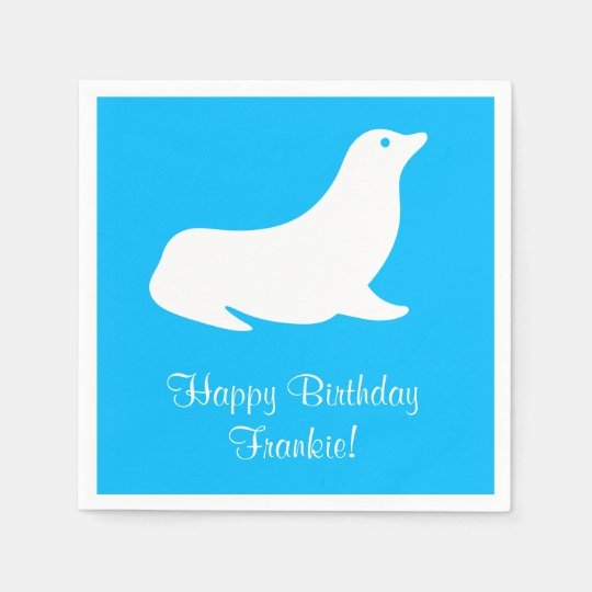 Birthday Blue Sea Lion 4Frankie (Name) Disposable Napkin
