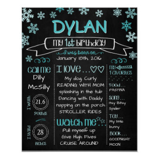 Birthday Board Poster Snowflakes in Blue