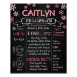 Birthday Board Snowflakes in Pink Poster