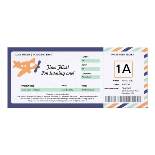 Birthday Boarding Pass Ticket Custom Announcement