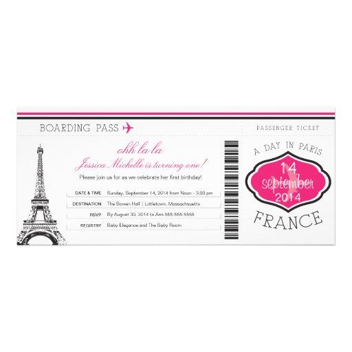 Birthday Boarding Pass to Paris Announcement