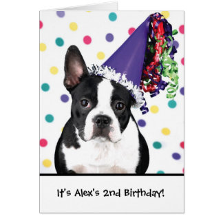Birthday boston terrier customizable invitations