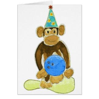 Birthday Bowling Monkey Greeting Card