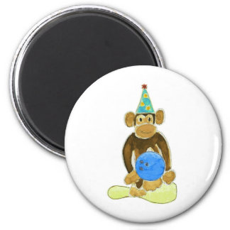 Birthday Bowling Monkey Fridge Magnet