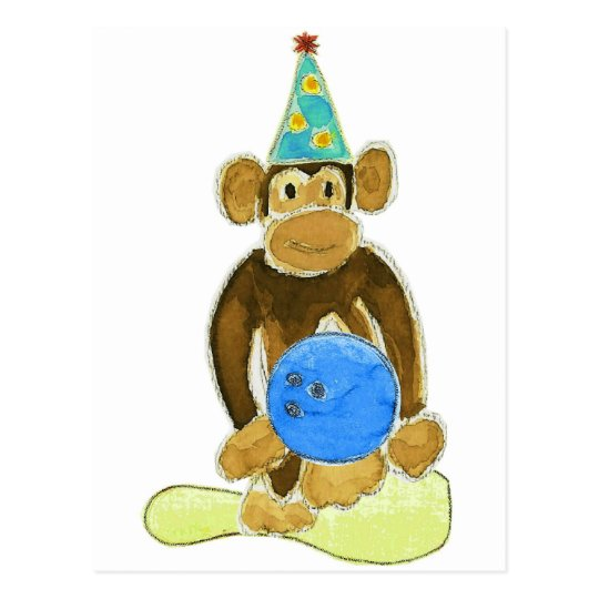 Birthday Bowling Monkey Postcard