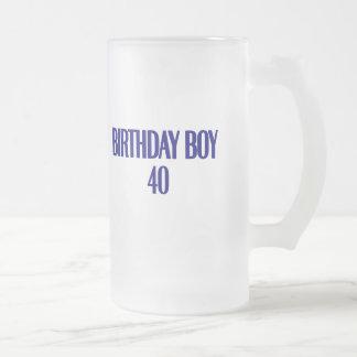 Birthday Boy 40 Frosted Glass Mug