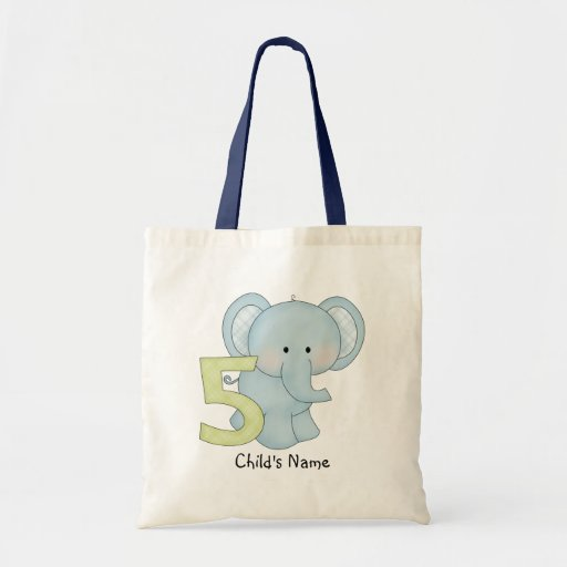 Birthday Boy 5 Elephant (personalized) Bag
