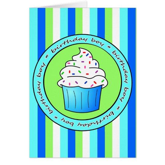 Birthday Boy Blue Cupcake with Sprinkles Card