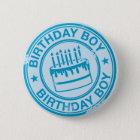 Birthday Boy -blue rubber stamp effect- 6 Cm Round Badge