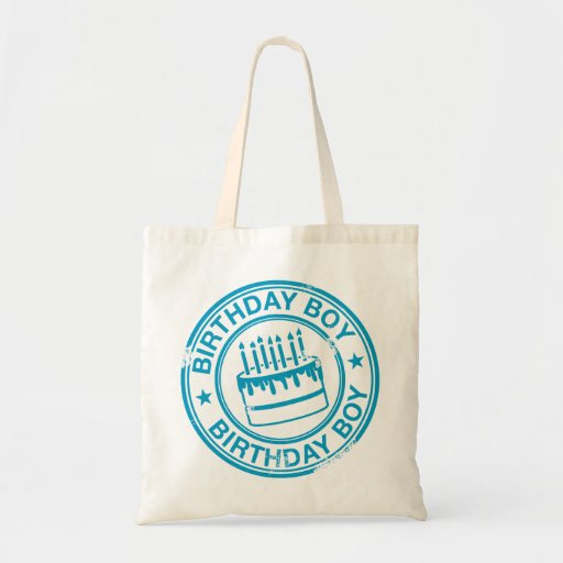 Birthday Boy -blue rubber stamp effect- Tote Bags