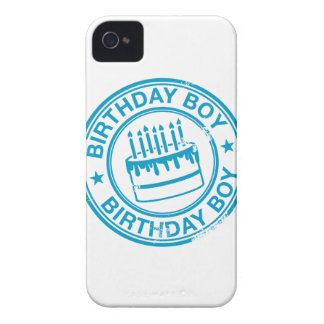 Birthday Boy -blue rubber stamp effect- iPhone 4 Covers