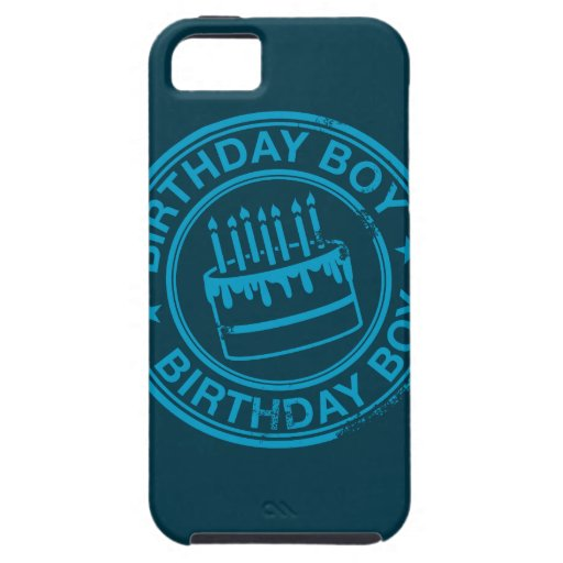 Birthday Boy -blue rubber stamp effect- iPhone 5 Cover