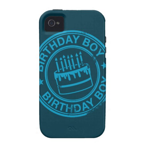 Birthday Boy -blue rubber stamp effect- iPhone 4/4S Cover