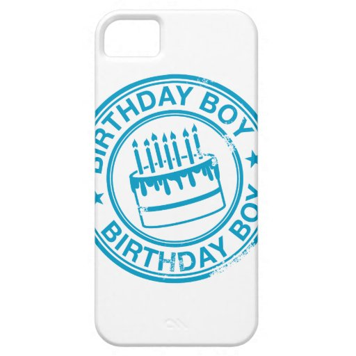Birthday Boy -blue rubber stamp effect- iPhone 5 Cases