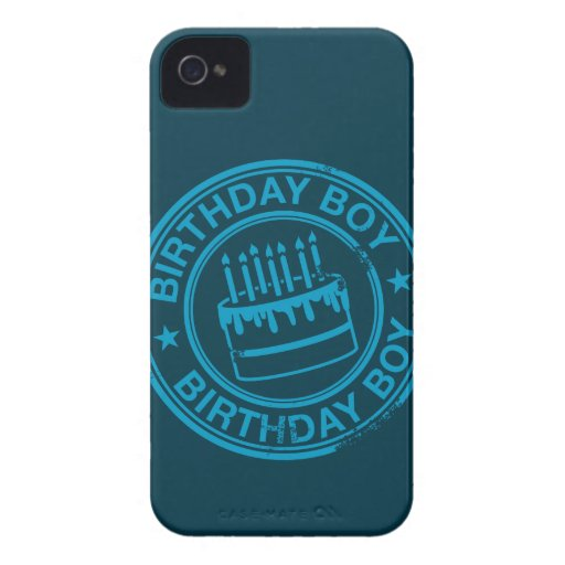Birthday Boy -blue rubber stamp effect- iPhone 4 Cover