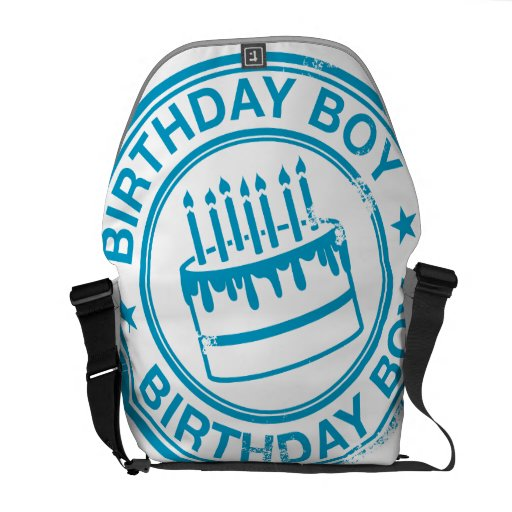 Birthday Boy -blue rubber stamp effect- Commuter Bag