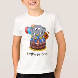 Birthday Boy Cake Elephant American Football T-Shirt