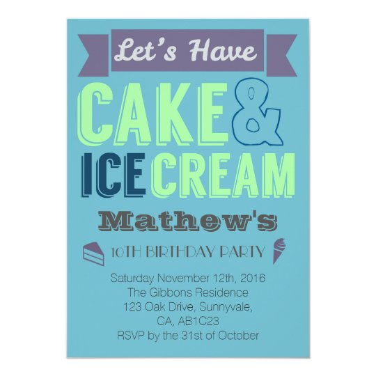 Birthday Boy Cake Ice cream Party Invitation