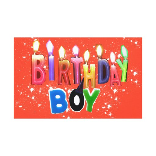 Birthday Boy Candles Collage in Orange Background Gallery Wrapped Canvas