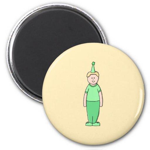 Birthday Boy Cartoon in Green. Fridge Magnets