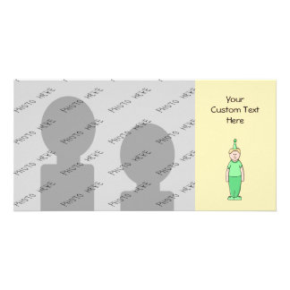 Birthday Boy Cartoon in Green. Picture Card