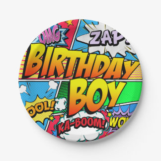Birthday Boy Comic Book Party Paper Plate