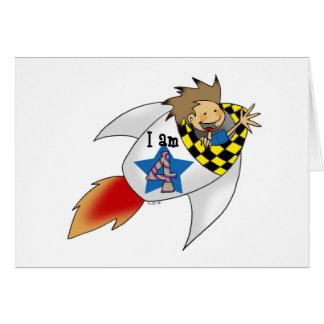 Birthday boy in a rocket greeting card