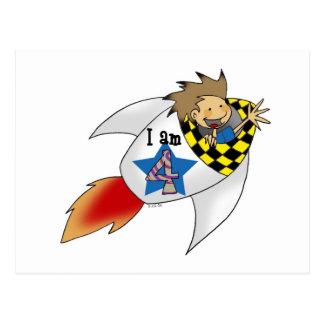 Birthday boy in a rocket post card