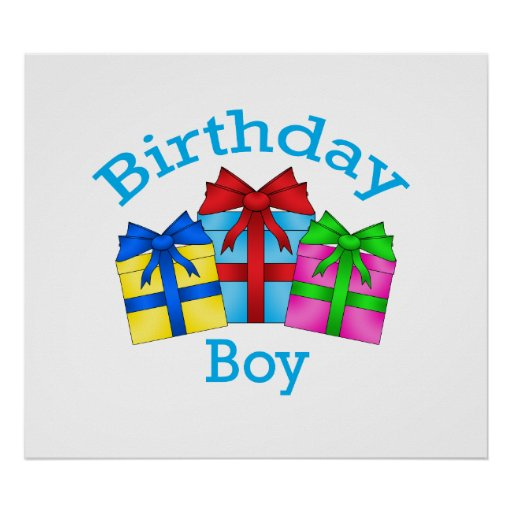 Birthday boy in blue with presents poster