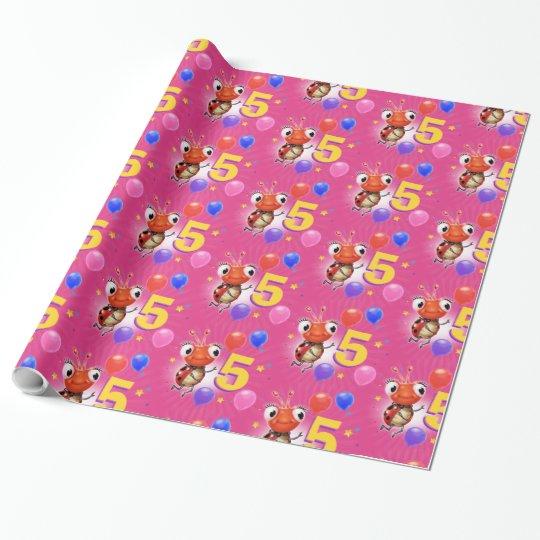 Birthday Boy or Girl age 5 Ladybug wrapping