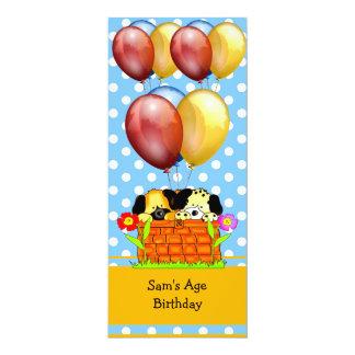 Birthday Boy or Girl Dogs Balloons Blue Yellow 10 Cm X 24 Cm Invitation Card
