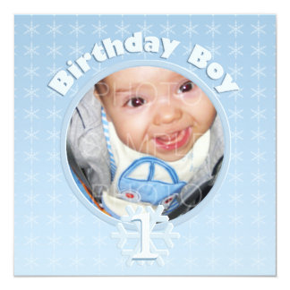 Birthday Boy Photo Winter Onederland 13 Cm X 13 Cm Square Invitation Card