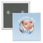 Birthday Boy Photo Winter Onederland Pinback Buttons
