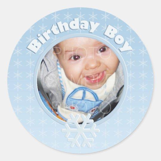 Birthday Boy Photo Winter Onederland Classic Round Sticker