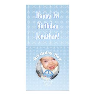 Birthday Boy Photo Winter Onederland Personalized Photo Card