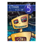 Birthday Boy Robot Comic Book Hero Space SciFi Personalised Announcement