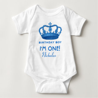 Birthday Boy Royal Prince Crown One Year Old V07 Baby Bodysuit