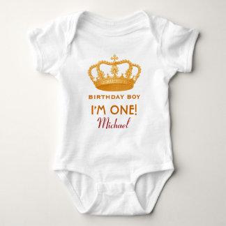 Birthday Boy Royal Princess Crown One Year Old V02 Baby Bodysuit